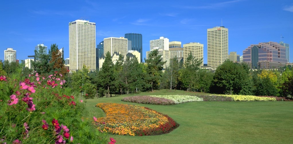 A view of the Edmonton skyline in the summer.