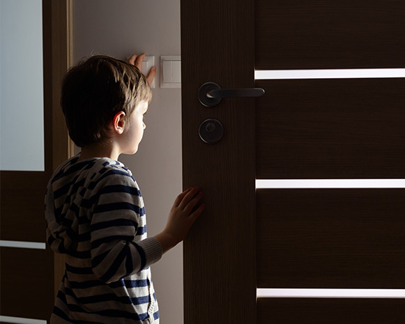 A child answering the door