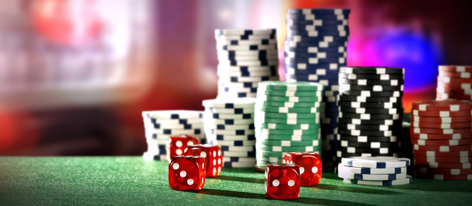 A casino table with chips and dice
