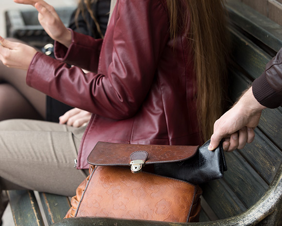 Someone's hand discretely reaching into a purse and pulling out a wallet
